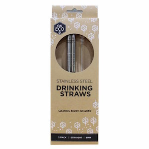 ever eco stainless steel straight straws 2 pack