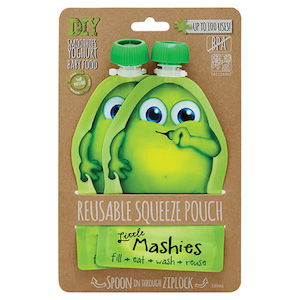 little mashies reusable squeeze pouch twin pack green